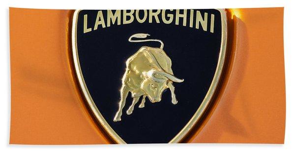 Hand Towel featuring the photograph Lamborghini Emblem -0525c55 by Jill Reger