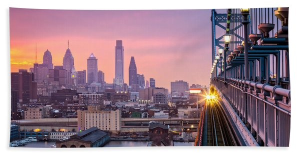 Hand Towel featuring the photograph Leaving Philadelphia by Mihai Andritoiu