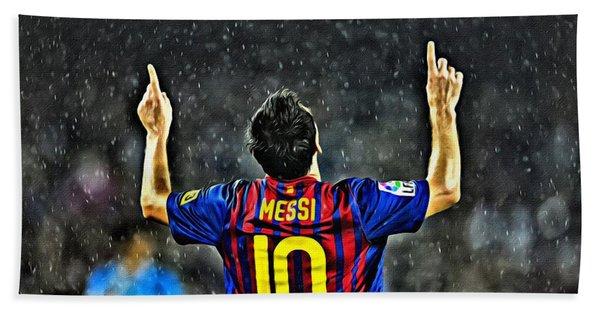 Leo Messi Poster Art Hand Towel