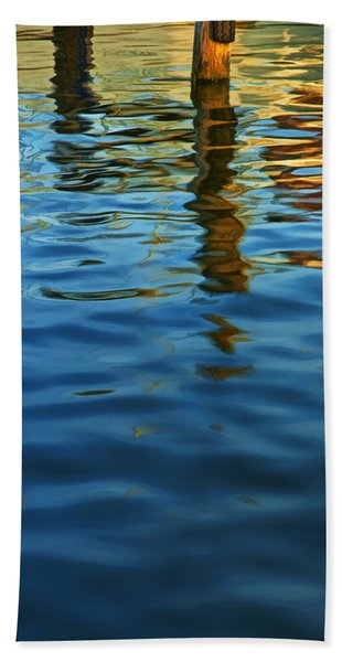 Light Reflections On The Water By A Dock At Aransas Pass Hand Towel