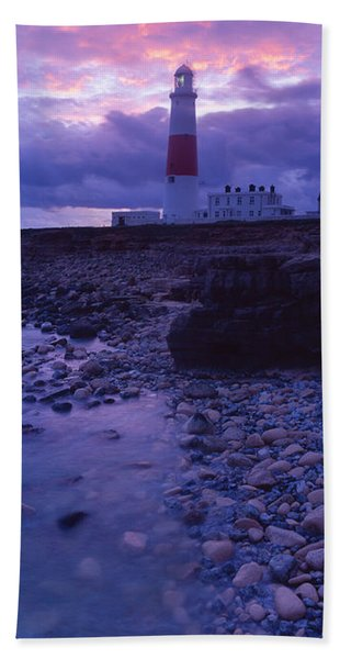 Lighthouse On The Coast, Portland Bill Hand Towel