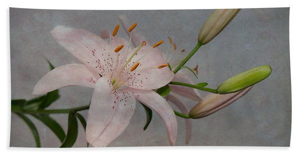 Bath Towel featuring the photograph Pink Lily With Texture by Patti Deters