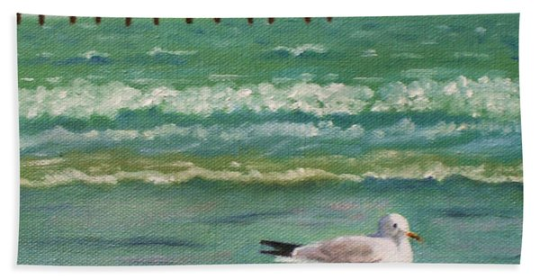 Lone Gull A-piers Hand Towel