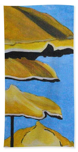 Lounging Under The Umbrellas On A Bright Sunny Day Bath Towel