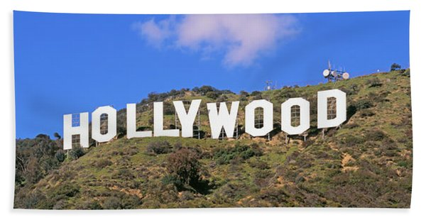 Low Angle View Of A Hollywood Sign Hand Towel