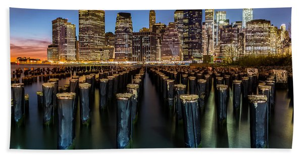 Hand Towel featuring the photograph Lower Manhattan by Mihai Andritoiu