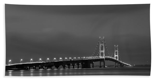 Mackinac Bridge Black And White Hand Towel