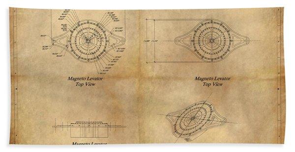 Magneto System Blueprint Hand Towel