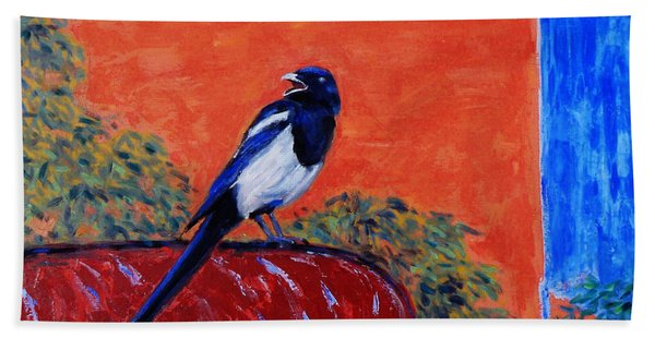 Magpie Singing At The Bath Hand Towel