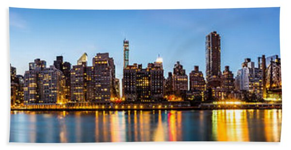 Hand Towel featuring the photograph Manhattan Panorama And Queensboro Bridge by Mihai Andritoiu
