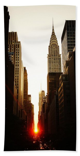 Manhattanhenge Sunset And The Chrysler Building  Hand Towel
