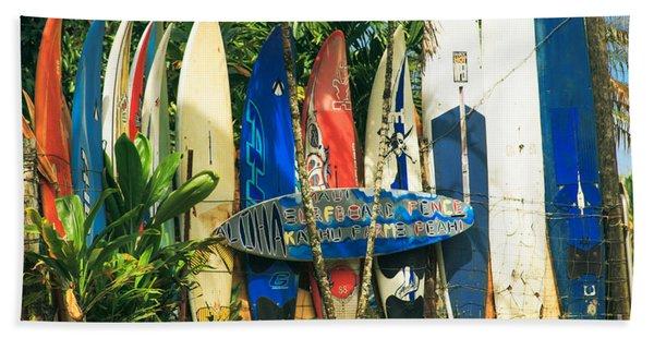 Maui Surfboard Fence - Peahi Hawaii Hand Towel