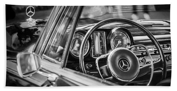 Hand Towel featuring the photograph Mercedes-benz 250 Se Steering Wheel Emblem by Jill Reger