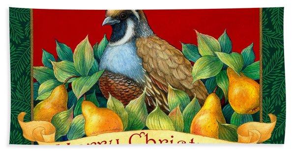 Merry Christmas Partridge Hand Towel