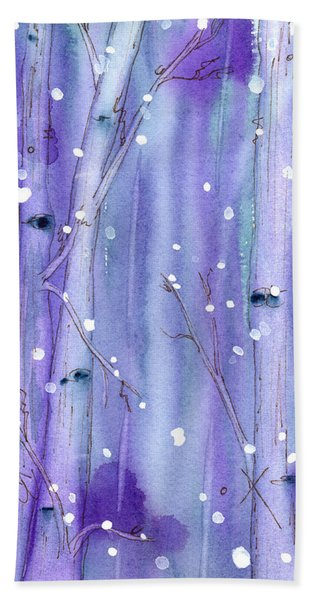 Midnight Snow In The Aspens Hand Towel
