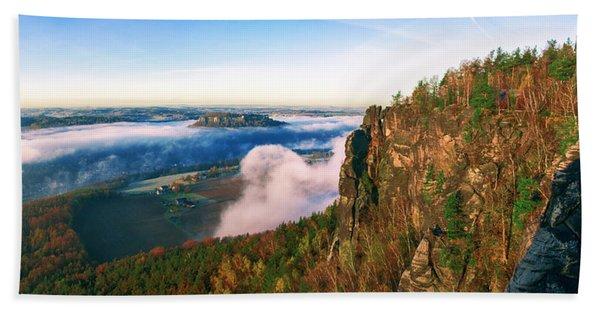 Mist Flow Around The Fortress Koenigstein Bath Towel