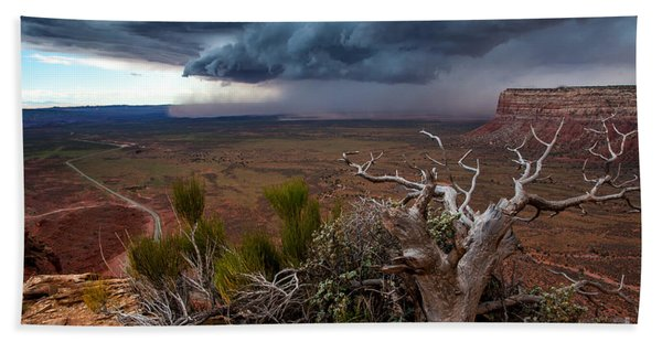 Moki Dugway Thunderstorm - Southern Utah Hand Towel