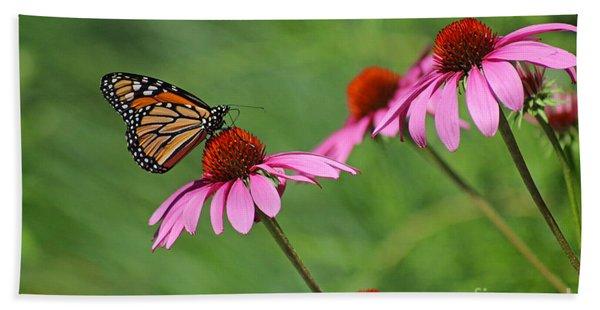 Monarch On Garden Coneflowers Hand Towel