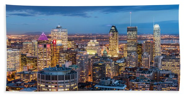Hand Towel featuring the photograph Montreal Panorama by Mihai Andritoiu