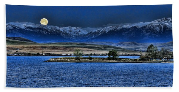 Moonset Over Cooney Bath Towel