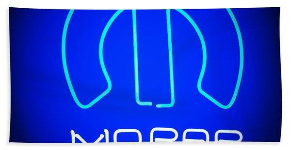 Hand Towel featuring the photograph Mopar Neon Sign by Jill Reger