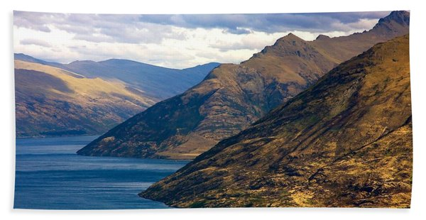 Mountains Meet Lake Hand Towel