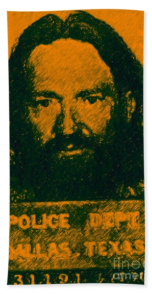 Mugshot Willie Nelson P0 Bath Towel