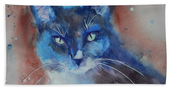 Hand Towel featuring the painting My Cat Spook by Ruth Kamenev