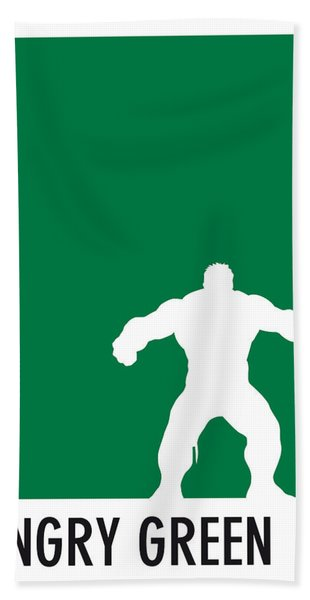 My Superhero 01 Angry Green Minimal Poster Bath Towel