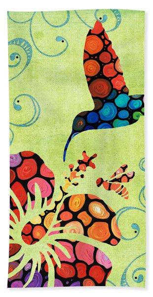Nature's Harmony 2 - Hummingbird Art By Sharon Cummings Hand Towel