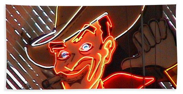 Neon Cowboy Of  Las Vegas Hand Towel
