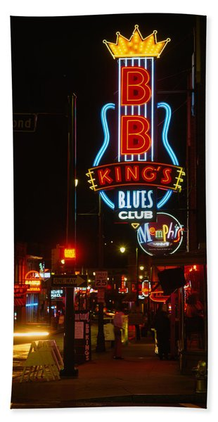 Neon Sign Lit Up At Night, B. B. Kings Hand Towel