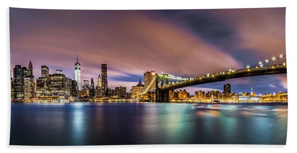 Hand Towel featuring the photograph New Dawn Over New York by Mihai Andritoiu