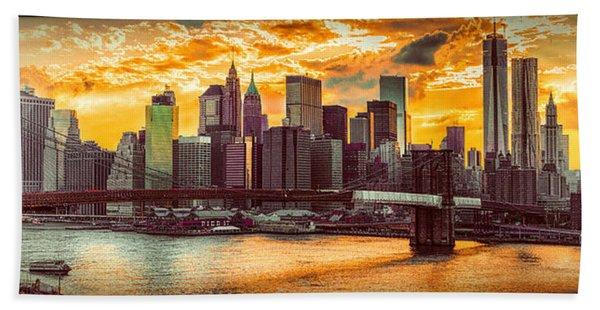 New York City Summer Panorama Bath Towel