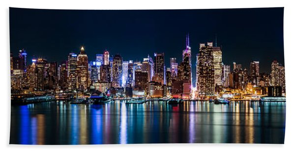 Hand Towel featuring the photograph New York Panorama By Night by Mihai Andritoiu