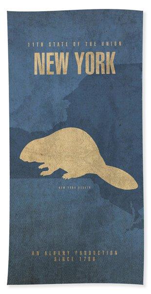 New York State Facts Minimalist Movie Poster Art  Bath Towel
