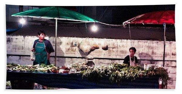 Night Market In Thailand Bath Towel