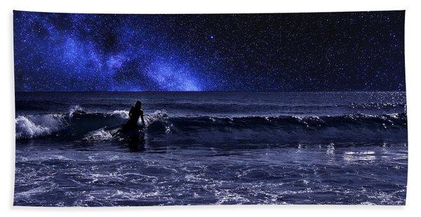 Night Surfer Hand Towel
