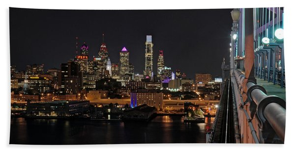 Nighttime Philly From The Ben Franklin Bath Towel