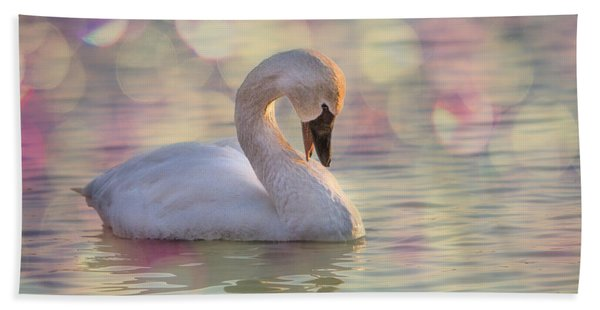 Bath Towel featuring the photograph Shy Swan by Patti Deters