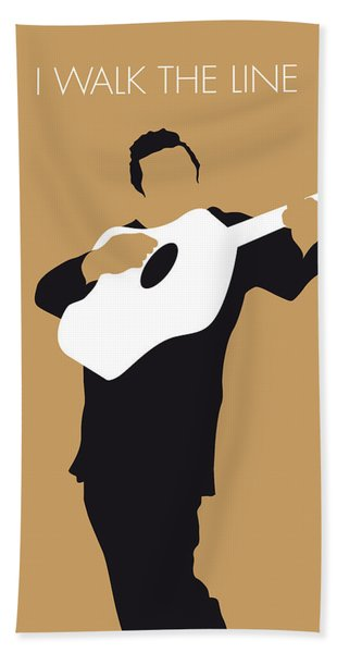 No010 My Johnny Cash Minimal Music Poster Bath Towel