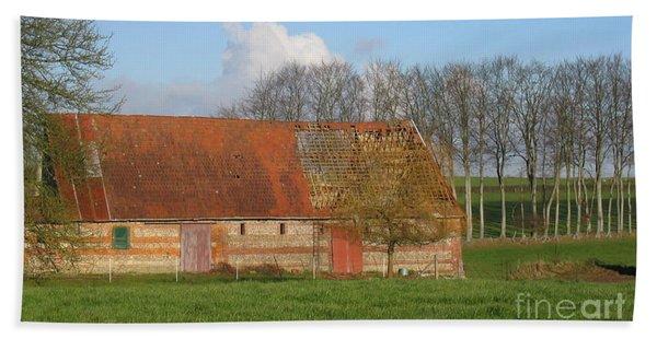 Normandy Storm Damaged Barn Hand Towel