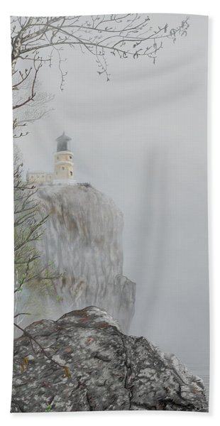 North Shore Lighthouse In The Fog Hand Towel