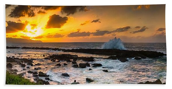 North Shore Sunset Crashing Wave Bath Towel