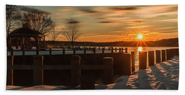 Northport New York Winter Sunset Hand Towel