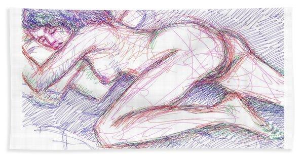 Nude Female Sketches 5 Bath Towel