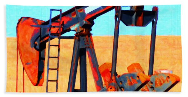 Oil Pump - Painterly Bath Towel