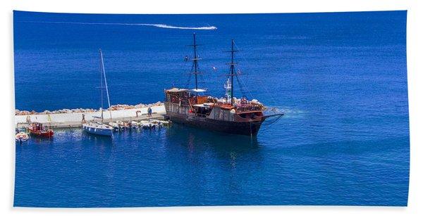 Old Sailing Ship In Bali Bath Towel