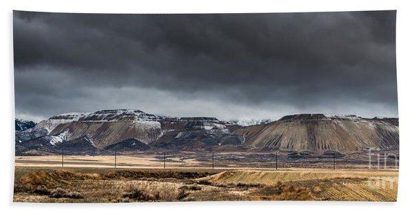 Oquirrh Mountains Winter Storm Panorama 2 - Utah Hand Towel