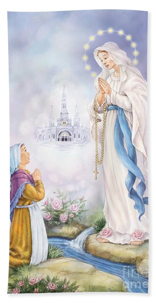 Our Lady Of Lourdes Hand Towel